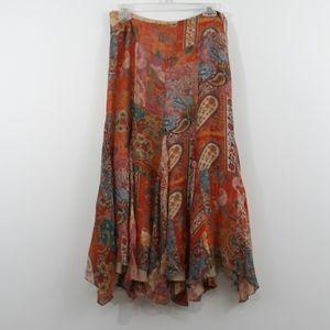 Lauren Ralph Lauren Silk Boho Paisley sz 4 Skirt